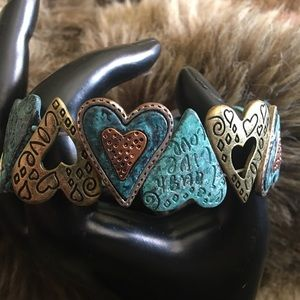 Laugh live love blue and gold metal heart bracelet